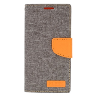 Insten Gray/ Orange Leather Case Cover with Stand/ Wallet Flap Pouch/ Photo Display For Samsung Galaxy S6 Edge Plus