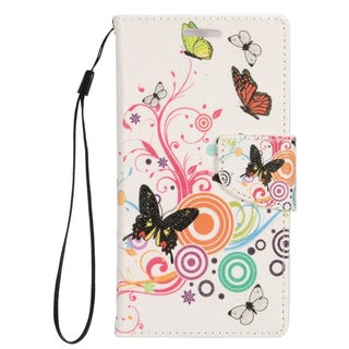 Insten Pink/ White Butterfly Leather Case Cover Lanyard with Stand/ Wallet Flap Pouch/ Photo Display For Apple iPhone 5/ 5S/ SE