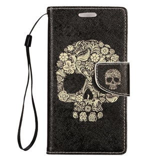 Insten Black/ White Skeleton Leather Case Cover Lanyard with Stand/ Wallet Flap Pouch/ Photo Display For LG G Stylo/ G Vista 2