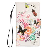 Insten Pink/ White Butterfly Leather Case Cover Lanyard with Stand/ Wallet Flap Pouch/ Photo Display For Samsung Galaxy S7 Edge