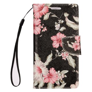 Insten Black/ White Flowers Leather Case Cover Lanyard with Stand/ Wallet Flap Pouch/ Photo Display For Samsung Galaxy S7 Edge