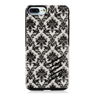 Insten Black/ White Lace Flower Hard Snap-on Dual Layer Hybrid Case Cover For Apple iPhone 7 Plus