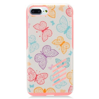 Insten Pink Butterfly Hard Snap-on Dual Layer Hybrid Case Cover For Apple iPhone 7 Plus