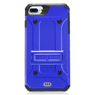 Insten Blue/ Black Hard PC/ Silicone Dual Layer Hybrid Rubberized Matte Case Cover with Stand For Apple iPhone 7 Plus