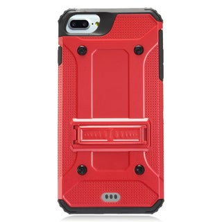 Insten Red/ Black Hard PC/ Silicone Dual Layer Hybrid Rubberized Matte Case Cover with Stand For Apple iPhone 7 Plus