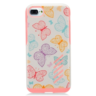 Insten Pink Butterfly Hard Snap-on Dual Layer Hybrid Case Cover For Apple iPhone 7