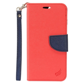Insten Red/ Black Leather Case Cover Lanyard with Stand/ Wallet Flap Pouch/ Photo Display For Apple iPhone 7 Plus