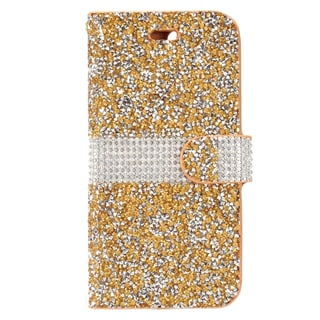 Insten Gold/ White Leather Diamond Bling Case Cover with Wallet Flap Pouch For Apple iPhone 7 Plus