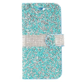 Insten Blue/ White Leather Diamond Bling Case Cover with Wallet Flap Pouch For Apple iPhone 7 Plus