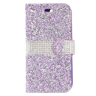 Insten Purple/ White Leather Diamond Bling Case Cover with Wallet Flap Pouch For Apple iPhone 7 Plus