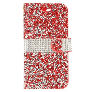 Insten Red/ White Leather Diamond Bling Case Cover with Wallet Flap Pouch For Apple iPhone 7 Plus