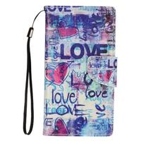 Insten Blue Love Leather Case Cover Lanyard with Stand/ Wallet Flap Pouch/ Photo Display For Apple iPhone 7 Plus