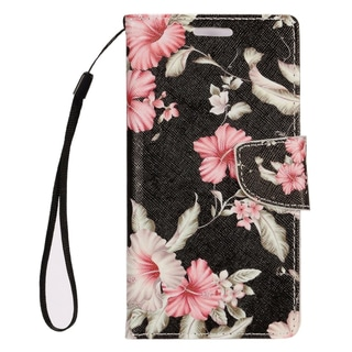 Insten Black/ White Flowers Leather Case Cover Lanyard with Stand/ Wallet Flap Pouch/ Photo Display For Apple iPhone 7 Plus