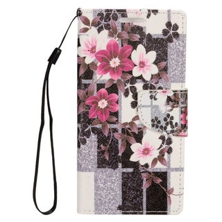 Insten Black/ Purple Flowers Leather Case Cover Lanyard with Stand/ Wallet Flap Pouch/ Photo Display For Apple iPhone 7 Plus