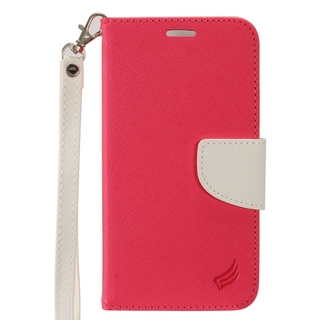 Insten Hot Pink/ White Leather Case Cover Lanyard with Stand/ Wallet Flap Pouch/ Photo Display For Apple iPhone 7