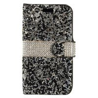 Insten Black/ White Leather Rhinestone Bling Case Cover with Wallet Flap Pouch For Apple iPhone 7
