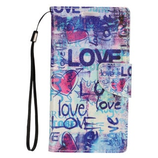 Insten Blue Love Leather Case Cover Lanyard with Stand/ Wallet Flap Pouch/ Photo Display For Apple iPhone 7