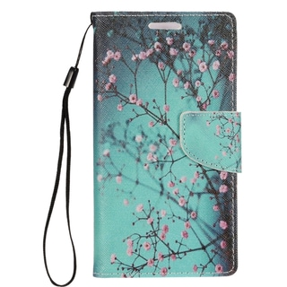 Insten Blue/ Pink Cherry Blossom Leather Case Cover Lanyard with Stand/ Wallet Flap Pouch/ Photo Display For Apple iPhone 7