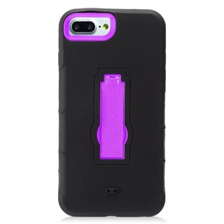 Insten Black/ Purple Symbiosis Soft Silicone/ PC Dual Layer Hybrid Rubber Case Cover with Stand For Apple iPhone 7 Plus