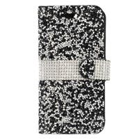 Insten Black/ White Leather Diamond Bling Case Cover with Wallet Flap Pouch For Apple iPhone 7 Plus