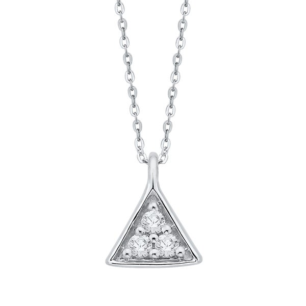 2589343e71 Shop 10K White Gold Diamond Triangle Pendant with Cable Chain - On ...