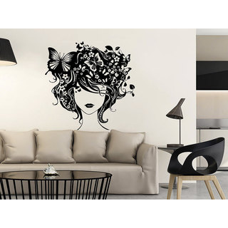 Mural Make Up Girl Butterfly Woman Fashion Cosmetic Hairdressing Hair Beauty Salon Sticker Decal siz