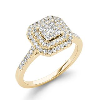 De Couer 10k Yellow Gold 1/3ct TDW Diamond Double Halo Engagement Ring (H-I,I2)