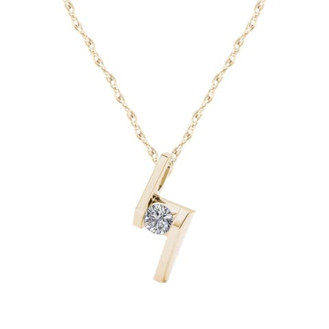 De Couer IGI Certified 10K Yellow Gold 1/6ct TDW Diamond Solitaire Necklace