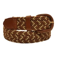 Men's Brown/Beige Woven Nylon Stretch Belt with Leather Covered Buckle
