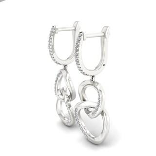 IGI Certified Sterling Silver 1/5ct TDW Diamond Dangle Hoop Earrings