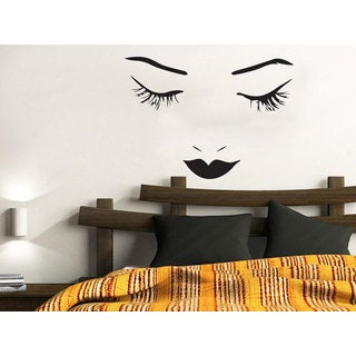Make Up Girl Eyes Woman Fashion Cosmetic Hairdressing Hair Beauty Salon Decor Sticker Decal size 48x48 Color Black