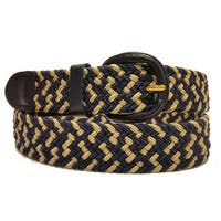 Men's Navy/ Beige Nylon Leather Trim Stretch Belt