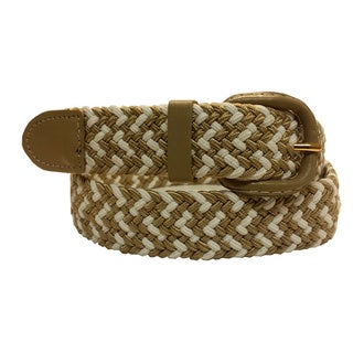 Mens White/Beige Leather/Nylon Buckle Belt