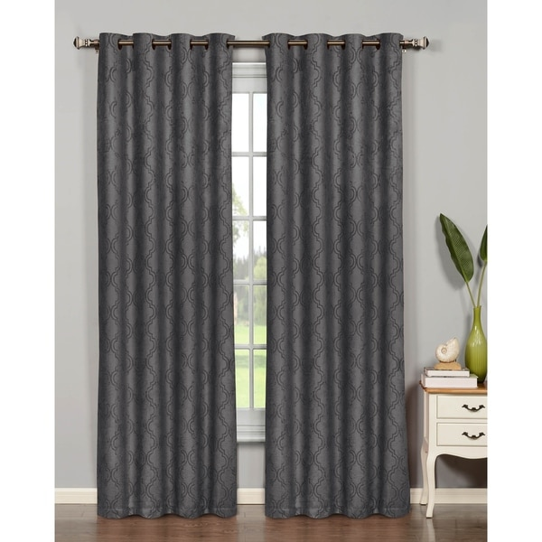 Bella Luna Newbury Lattice Room Darkening Extra Wide 84 Inch Grommet Curtain Panel