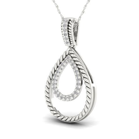 Sterling Silver 1/10ct TDW Double Pear Shaped Necklace