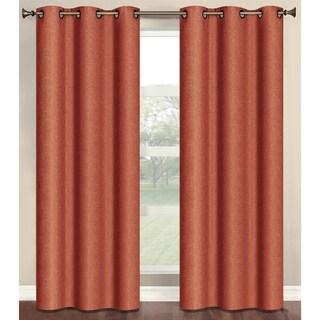 Bella Luna Marina Faux Linen Room Darkening 84-inch Grommet Curtain Panel Pair - 76 x 84