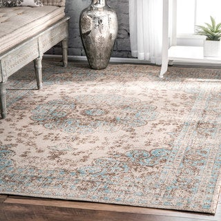 nuLOOM Traditional Faded Floral Beige Rug (8' x 10')