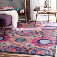 nuLOOM Vintage Faded Medallion Rug (8' x 10')