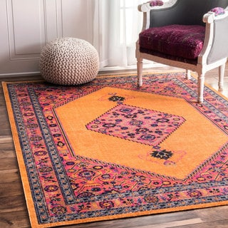 nuLOOM Traditional Medallion Orange Rug (8' x 10')