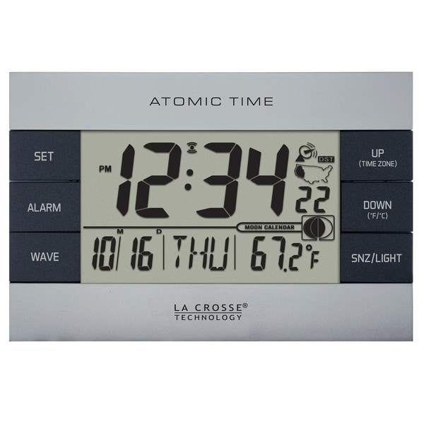 La Crosse Technology 617 1280 Silver Atomic Digital Alarm Clock With Temperature And Moon Phase