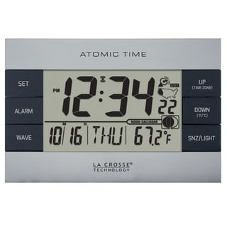 La Crosse Technology 617-1280 Silver Atomic Digital Alarm clock with Temperature and Moon phase