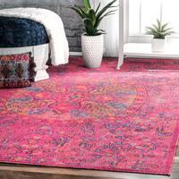 nuLOOM Vintage Floral Mandala Pink Rug  (5' x 7'5)