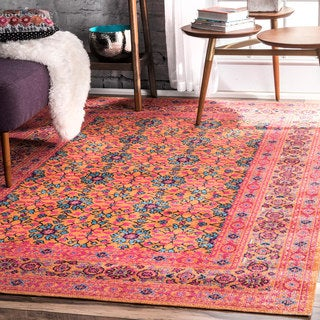 Link to nuLOOM Vintage Distressed Floral Area Rug Similar Items in Transitional Rugs