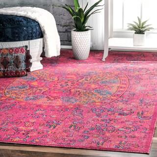 nuLOOM Vintage Floral Mandala Pink Rug (4' x 6') - 4' x 6'