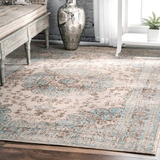 nuLOOM Traditional Faded Floral Beige Rug (4' x 6')