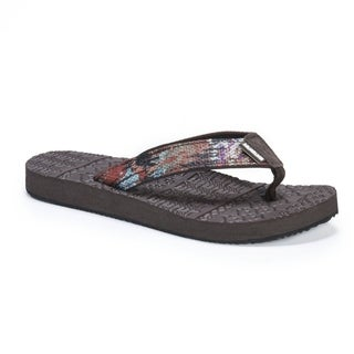 Muk Luks Women's Emma Orange EVA and Nylon Flip Flops
