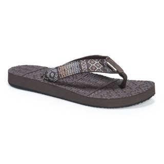 Muk Luks Women's Emma Brown EVA and Nylon Flip Flops