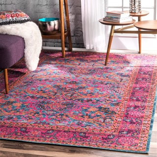 nuLOOM Traditional Floral Pink Rug  (5' x 7'5)