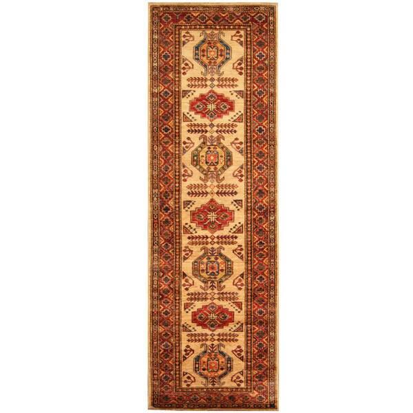 Herat Oriental Afghan Hand-knotted Tribal Super Kazak Wool Runner (2'9 x 8'6)