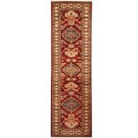 Herat Oriental Afghan Hand-knotted Tribal Super Kazak Wool Runner (2'6 x 8'2)